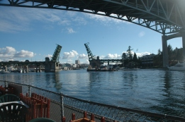 Under and through, crossing Lake Union, Portage Bay and on to Lake Washington