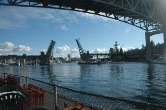 Under and through, crossing Lake Union, Portage Bay and on to Lake Washington