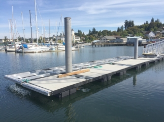 dock aluminum frame being installed